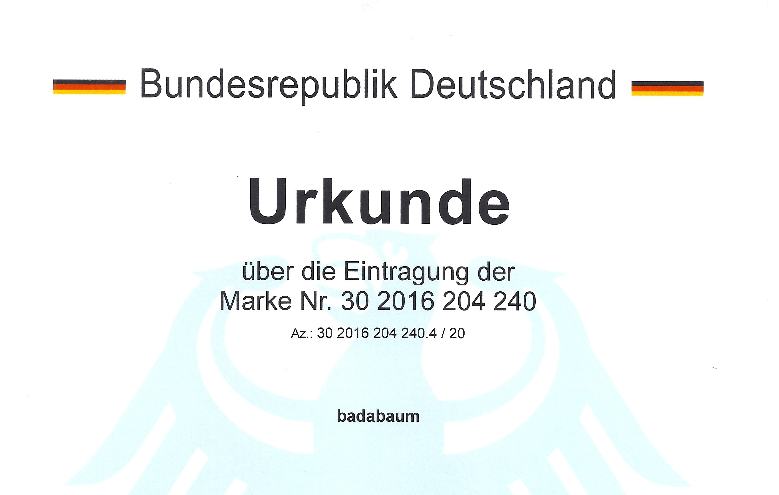 Wortmarke Urkunde
